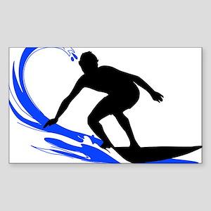 Wave Surfing Oval Sticker