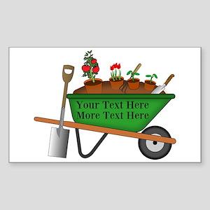 Personalized Green Wheelbarrow Sticker (Rectangle)