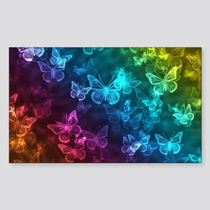 butterfly rainbow Sticker (Rectangle)