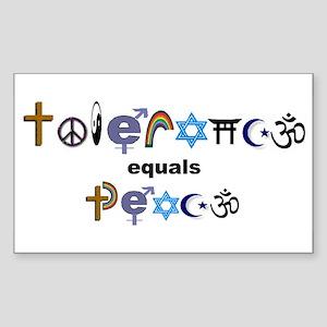 Tolerance = Peace Rectangle Sticker