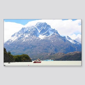 Boat and mountains, Patagonia, Chile Sticker