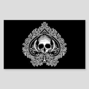 Skull Ace Of Spades Sticker (Rectangle)