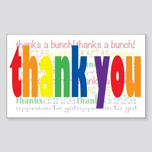 Thank You Greeting Card Sticker (Rectangle)