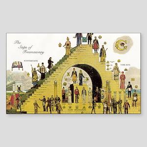 Steps of Freemasonry Rectangle Sticker