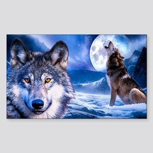Wolf decor Sticker (Rectangle)