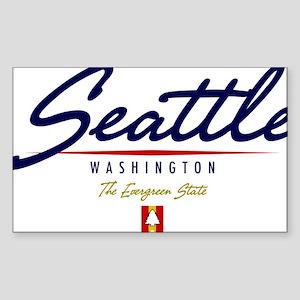 Seattle Script W Sticker (Rectangle)
