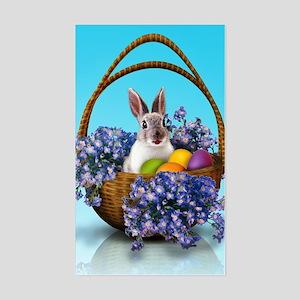 Easter Bunny Basket Sticker (Rectangle)