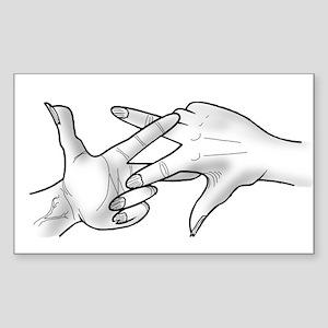 Scissoring Scissor Fingers Sticker (Rectangle)