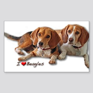 Two Beagles Sticker (Rectangle)