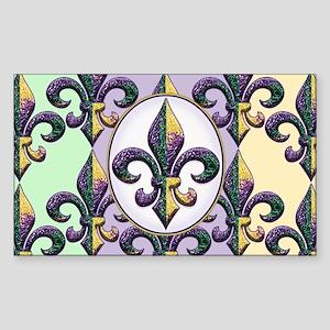 Fleur de lis Mardi Gras beads Sticker (Rectangle)
