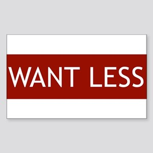 Want Less - Red Rectangle Sticker