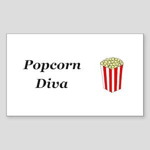 Popcorn Diva Sticker (Rectangle)