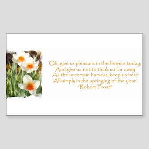 White Daffodils & Poem Rectangle Sticker