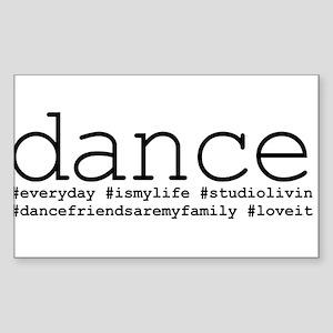 dance hashtags Sticker (Rectangle)