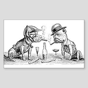 Cigar Smoking Bulldogs Rectangle Sticker