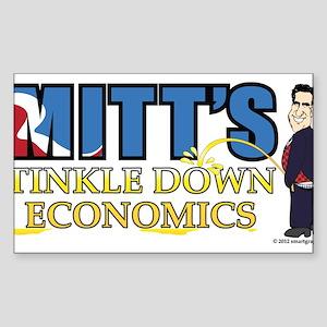 TINKLE DOWN ECONOMICS, MITT ROMNEY STYLE Sticker (