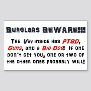 Burglars Beware!!! Sticker (Rectangle)
