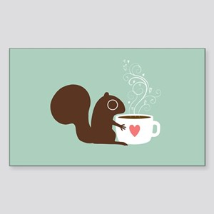 Coffee Squirrel Sticker (Rectangle)