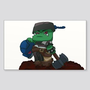 Chibi Ork Pot Head Sticker (Rectangle)