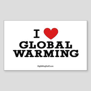 I Love Global Warming Oval Sticker