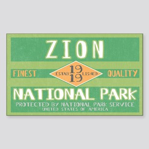 Zion National Park (Retro) Rectangle Sticker