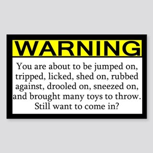 Warning Imminent Dog Joy Rectangle Sticker