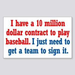 Baseball Contract Sticker (Rectangle)