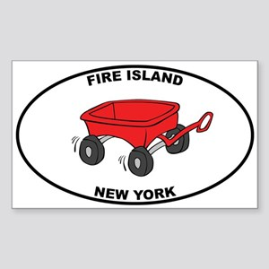 Fire Island Wagon Sticker (Rectangle)