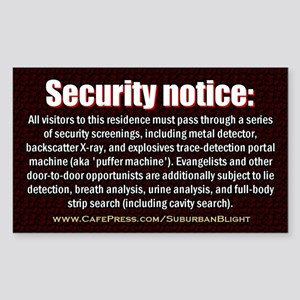 """""""No Soliciting Security Screen"""" Sticker (Rectangle"""