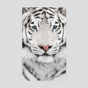 White Tiger Head Sticker (Rectangle)