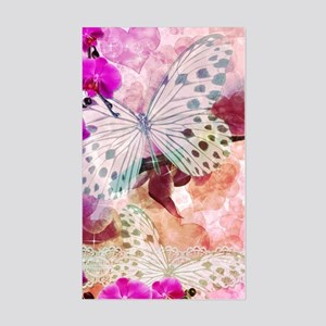 Orchids and Butterflies Sticker (Rectangle)
