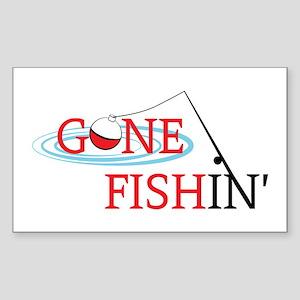 Gone fishing bobber and fishing pole Sticker