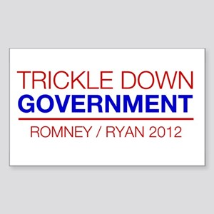 Trickle Down Government - Romney 2012 Sticker (Rec