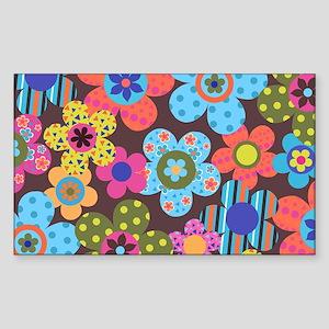 Retro Flowers Bags Sticker (Rectangle)