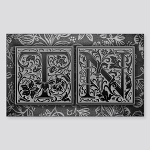 TN initials. Vintage, Floral Sticker (Rectangle)