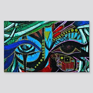 Warrior Vision Colorful Abstra Sticker (Rectangle)