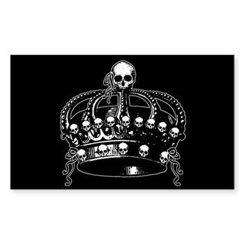 Gothic Skull Crown Sticker Rectangle