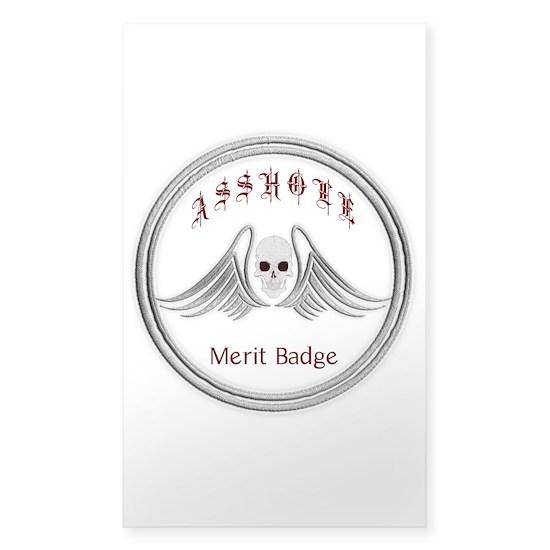 Asshole Merit Badge Sticker (Rectangle) Asshole Merit