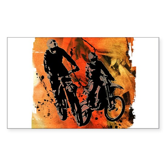 Dirt Bike Duo in Red Orange and Black Mud Splatter