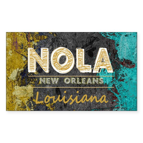 NOLA New Orleans Black Gold Turquoise Grunge