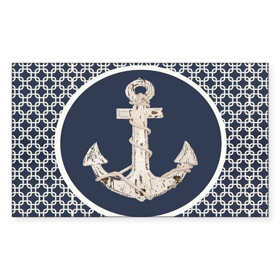 navy blue geometric pattern anchor
