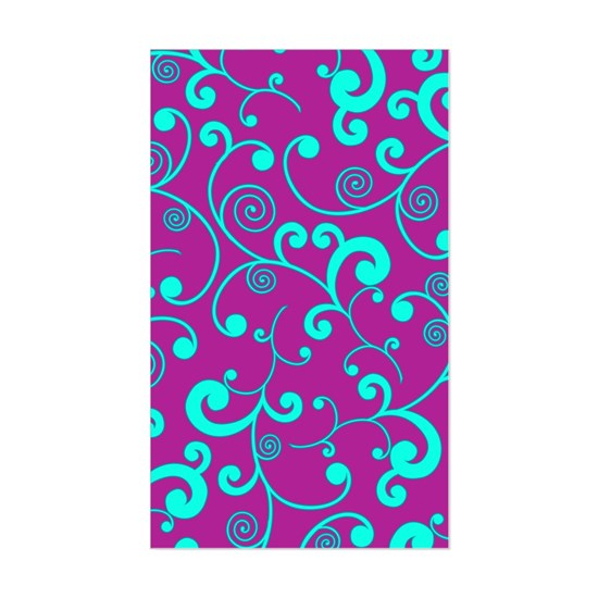 Elegant Purple and Aqua Blue Scroll Pattern
