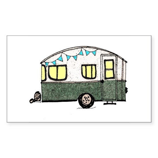 Vintage Camper Trailer with flags