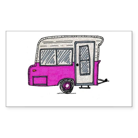 pinky vintage camper trailer