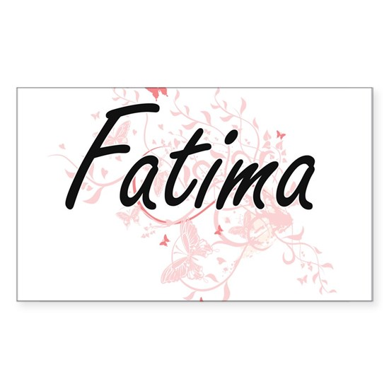 Fatima Artistic Name Design with Butterflies