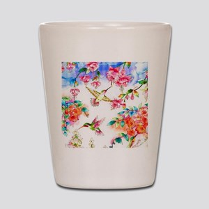 Hummingbird_flowers_landscape Shot Glass