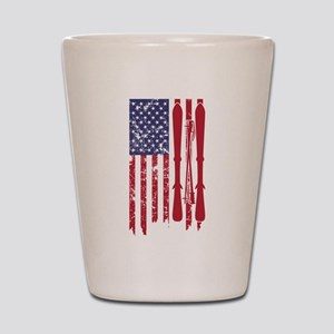 US flag with skis and ski poles as stri Shot Glass
