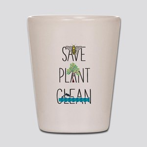 Save Bees, Plant Trees, Clean The Seas Shot Glass