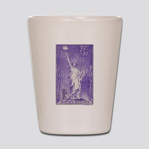 1936 French Statue of Liberty Stamp Shot Glass