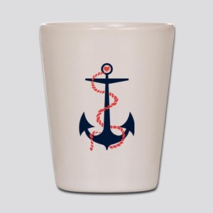 Dark Blue & Coral Nautical Boat Anchor Shot Glass